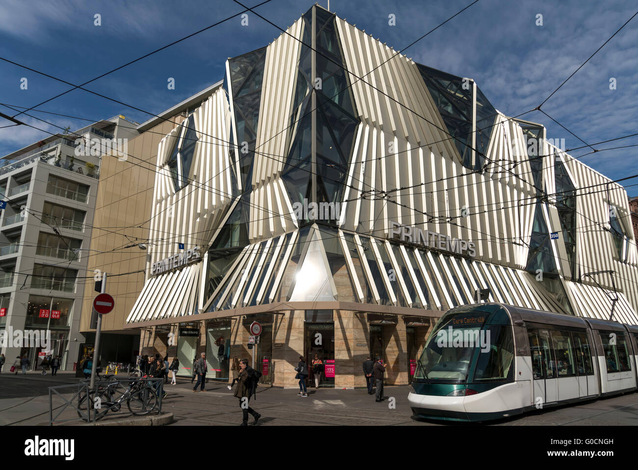 Printemps Department Store and tramway in Strasbourg,  Alsace, France Stock Photo