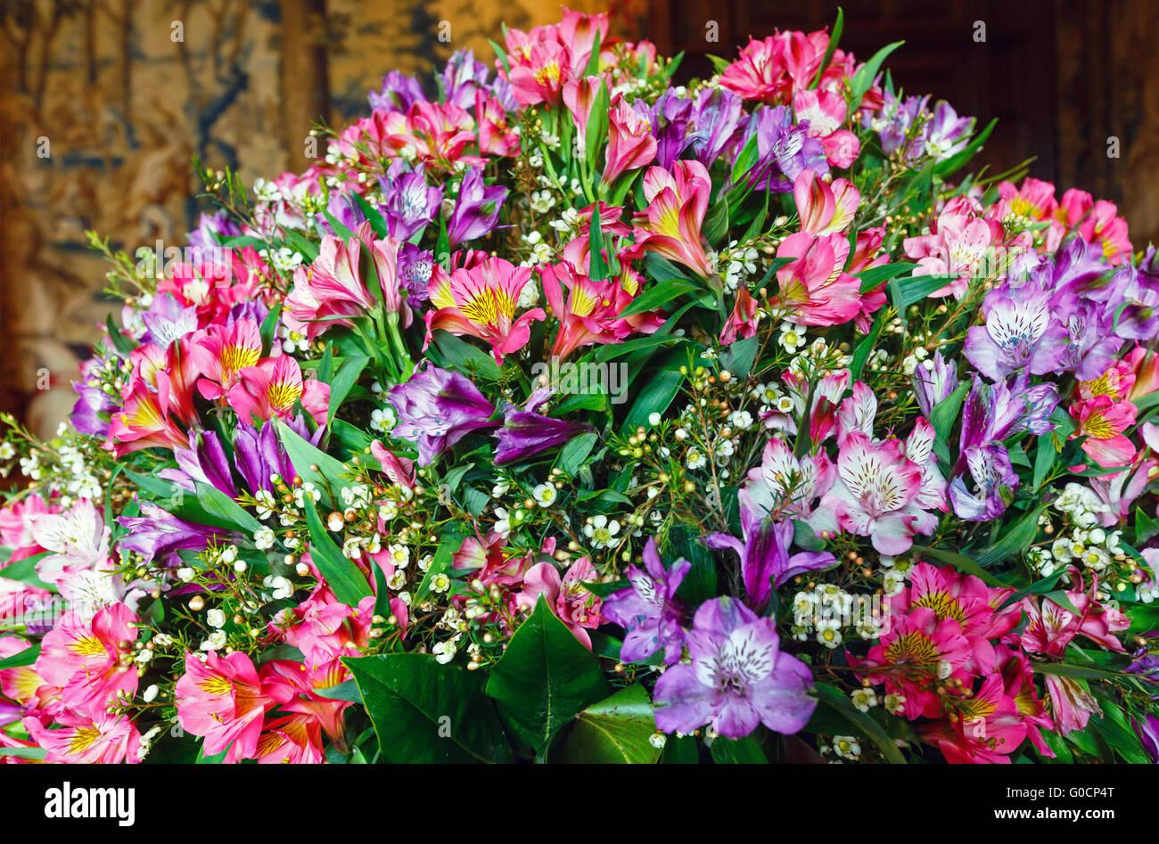 Big Multicolor Alstroemeria Flowers Bouquet Stock Photo 103543016