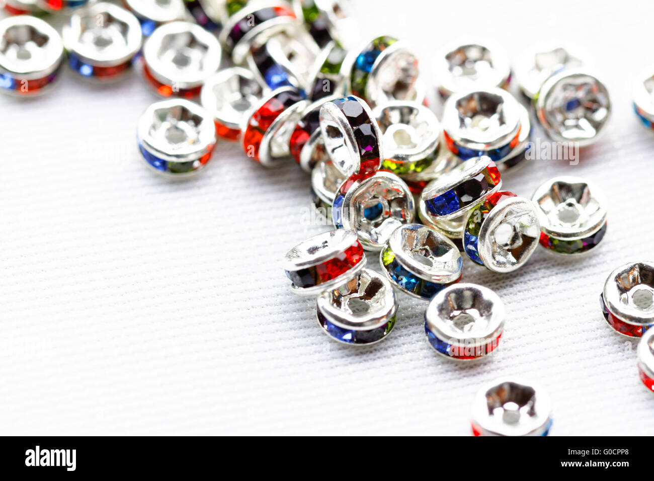 Colorful crystal beads for bracelets jewellery - macro photo - Stock Image