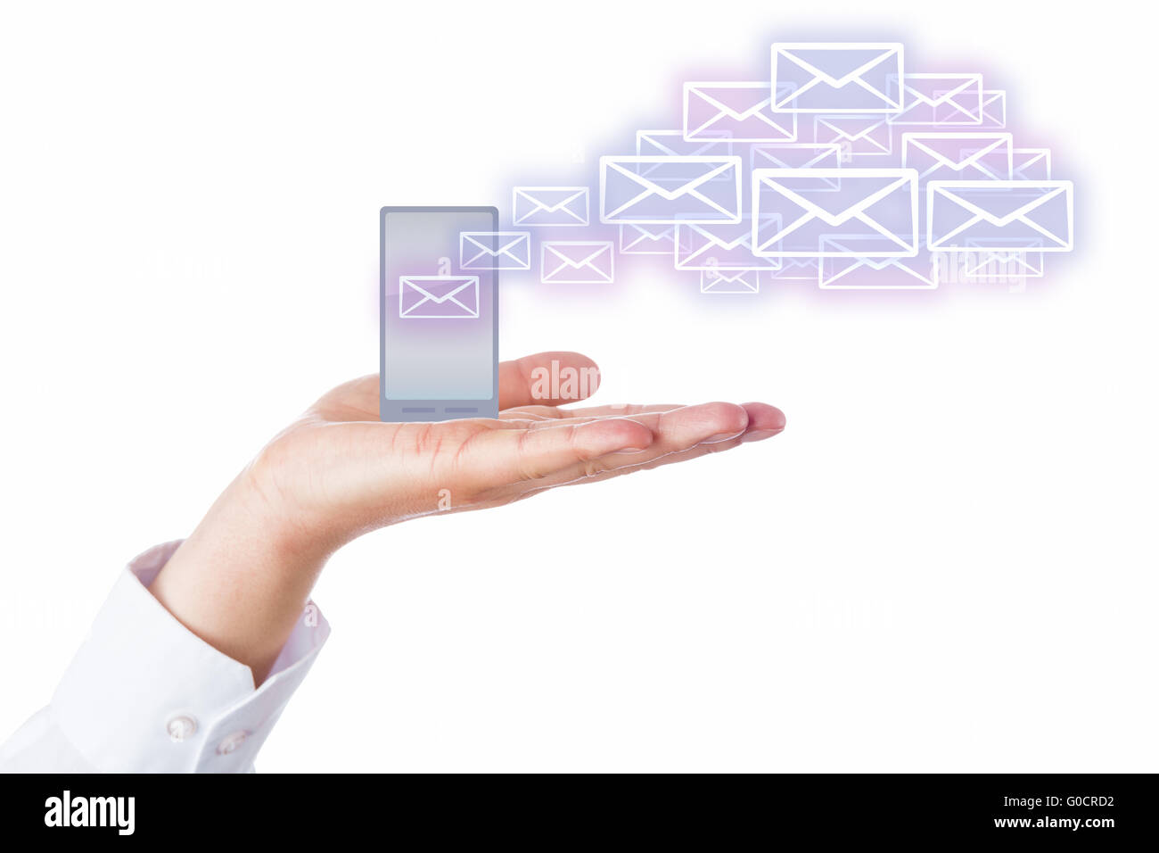 Emails Leaving Cell Phone In A Palm For The Cloud - Stock Image