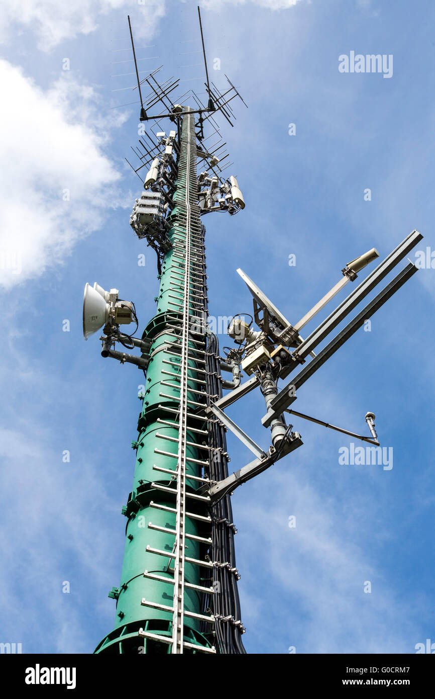 Radio mast with various antenna systems for mobile and other telecommunications, - Stock Image