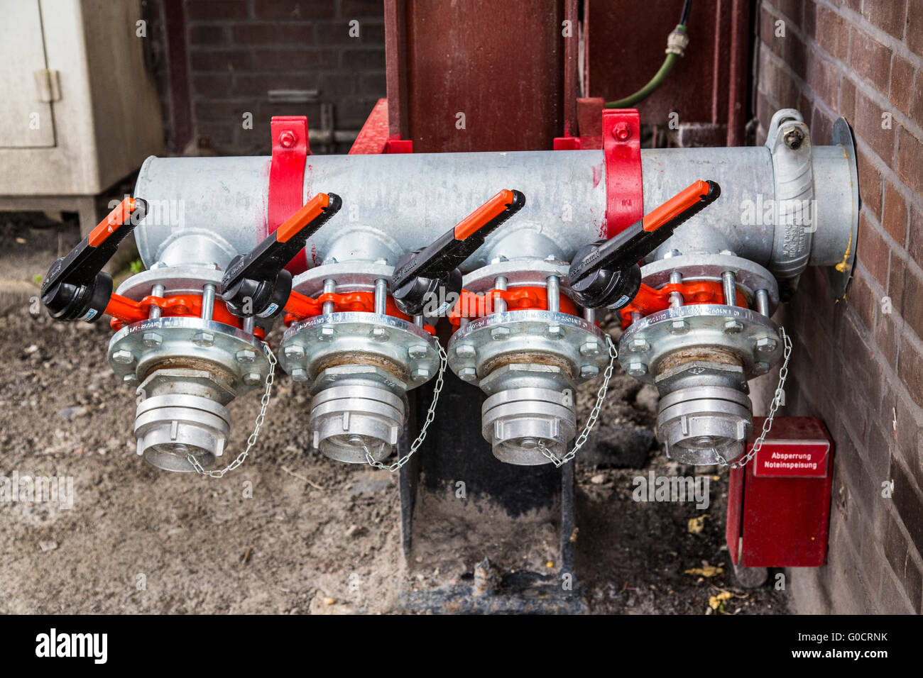 Connections for water supply by firefighters, emergency supply, shutoff valves, - Stock Image