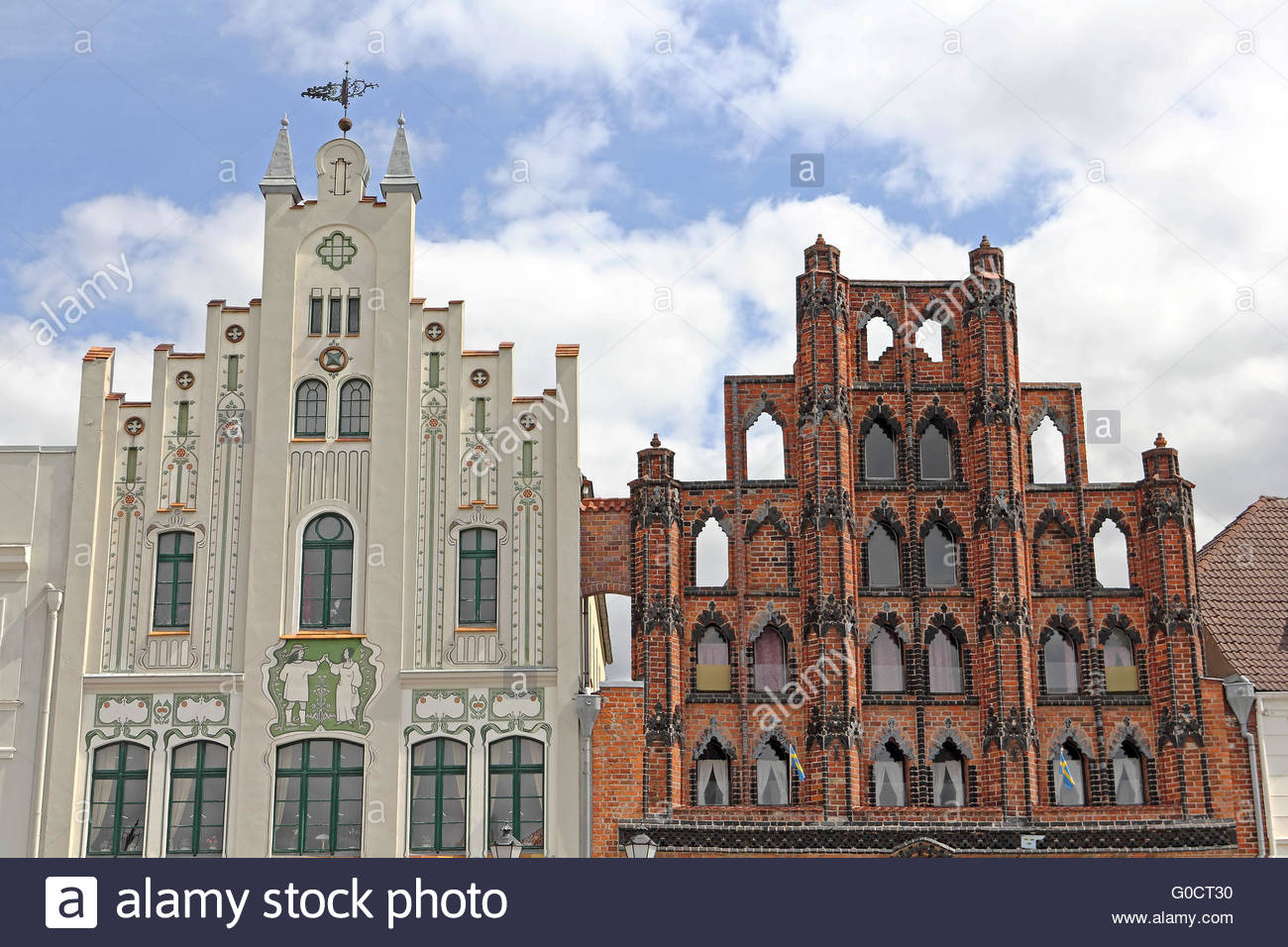 Two historic gables at market place in Wismar - Stock Image