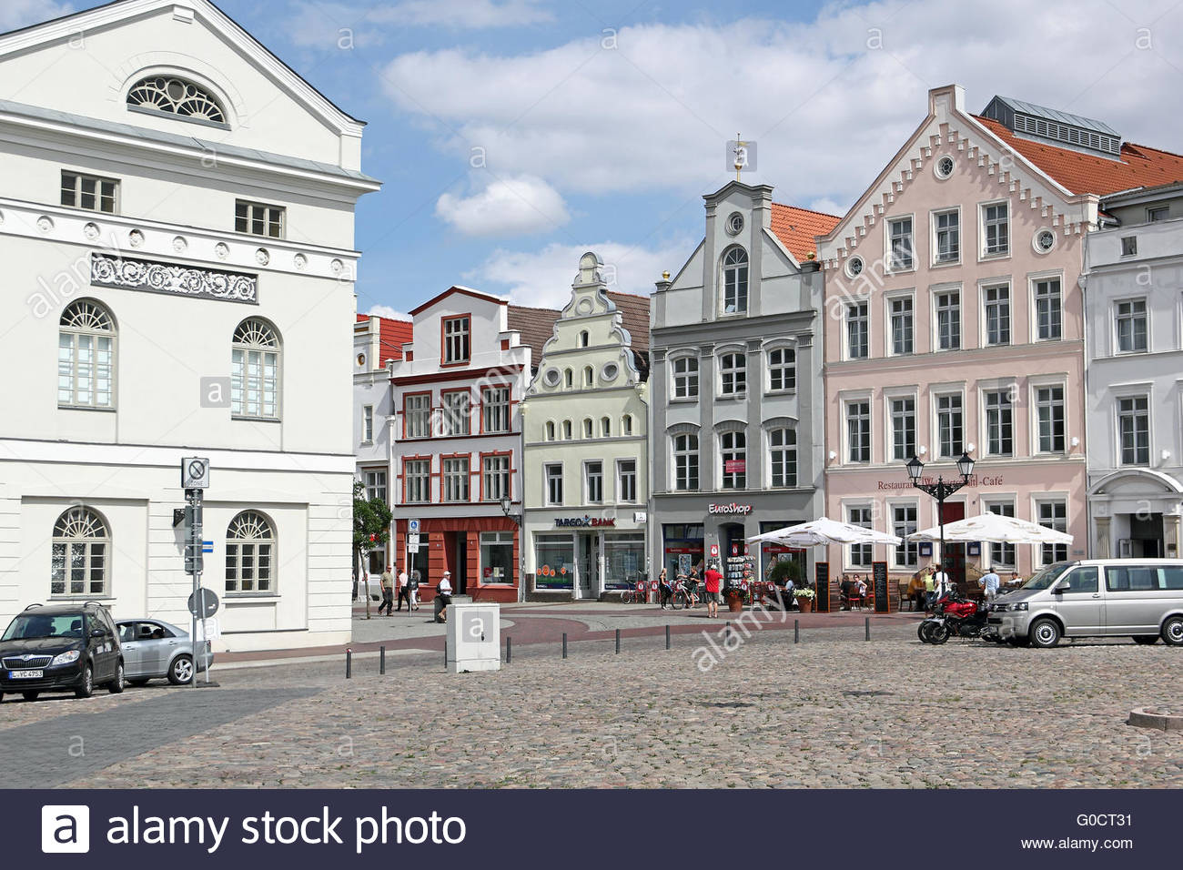 Town hall and patrician houses at market place of - Stock Image