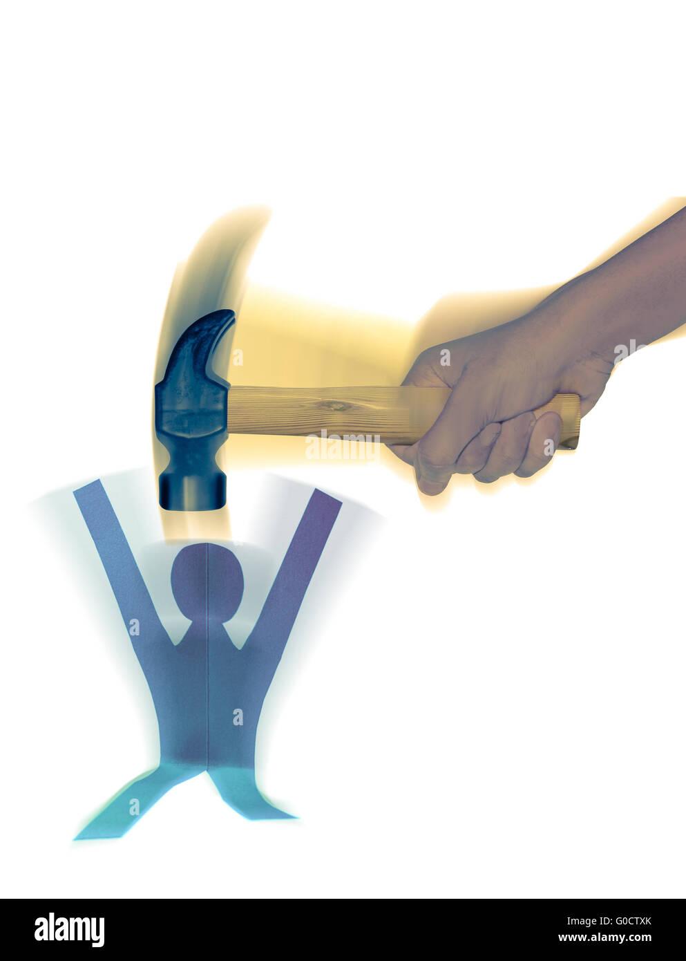 Man Hitting Paper Man, Employee harassment Concept - Stock Image