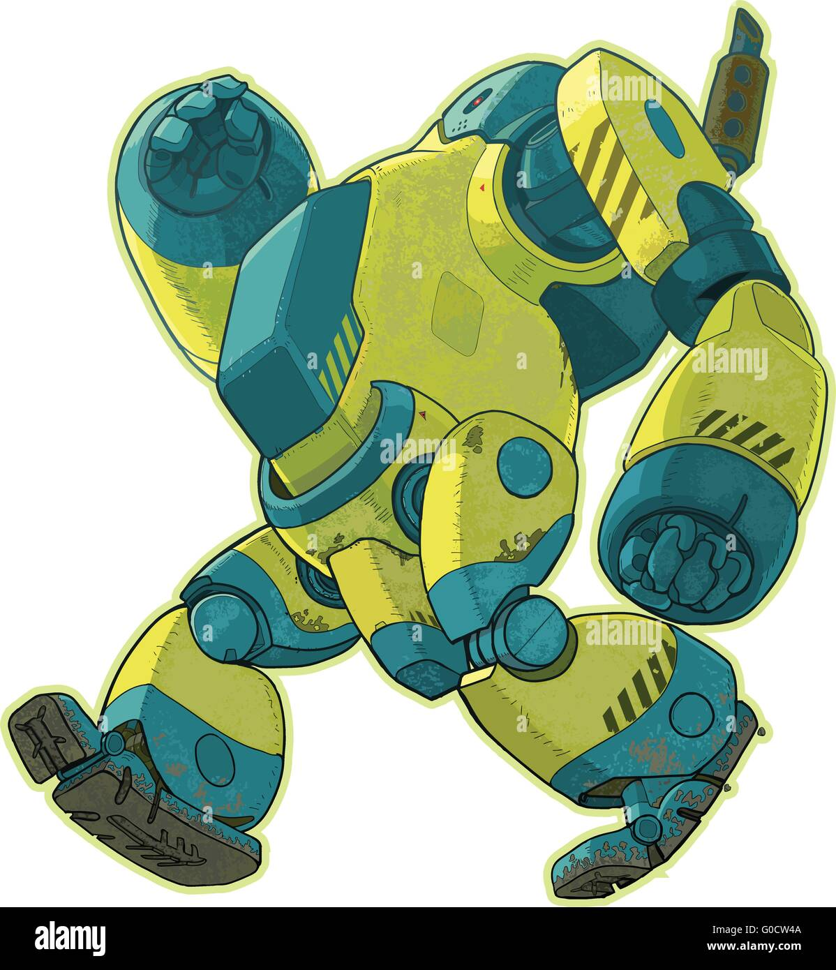 A vector cartoon illustration of a giant yellow robot walking forward with a lumbering gait. - Stock Vector