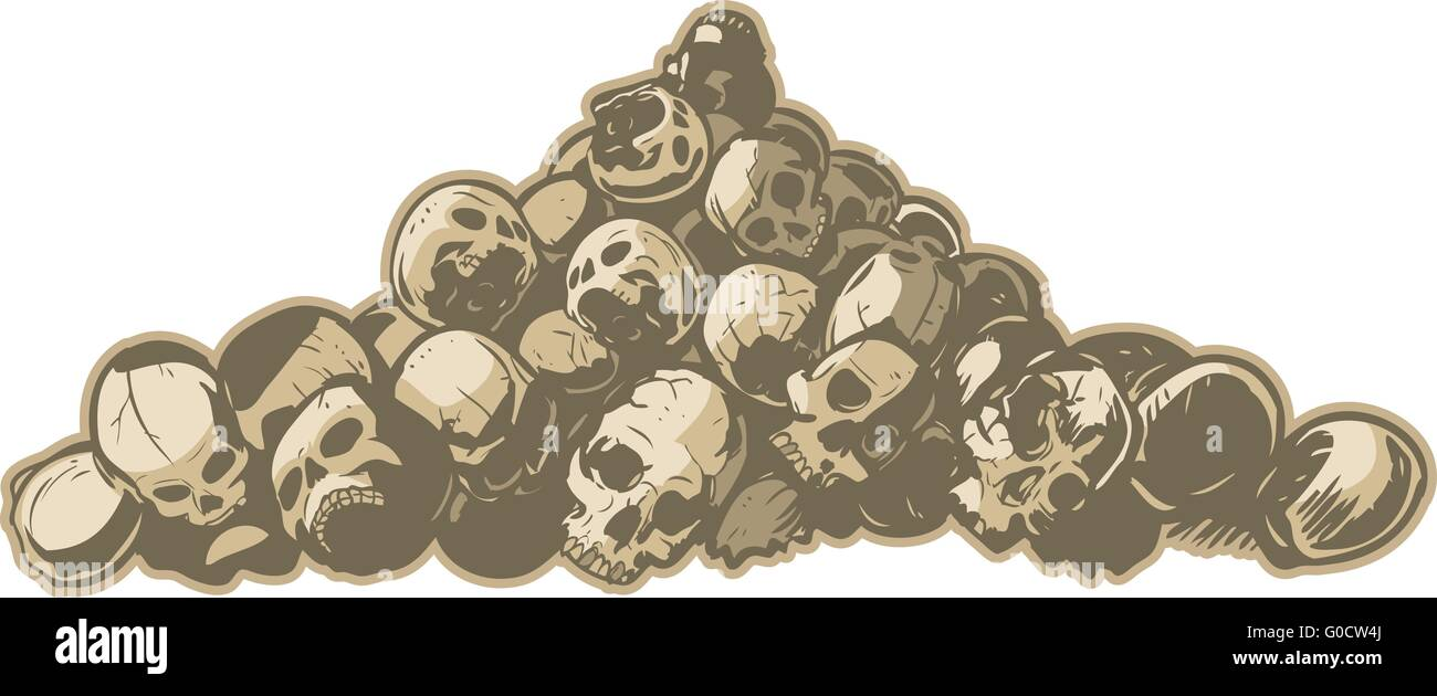 A vector illustration of pile of cracked and broken skulls. Makes a great 'hard core' background. - Stock Vector