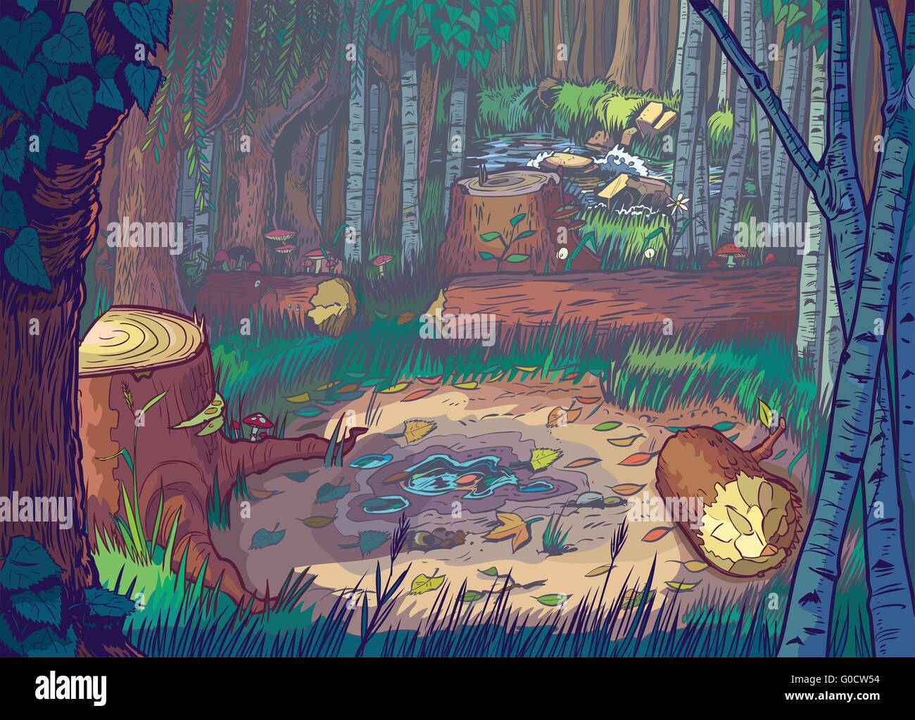 Vector Cartoon Illustration of a forest clearing scene with felled trees and logs and a stream or river in the background. - Stock Image