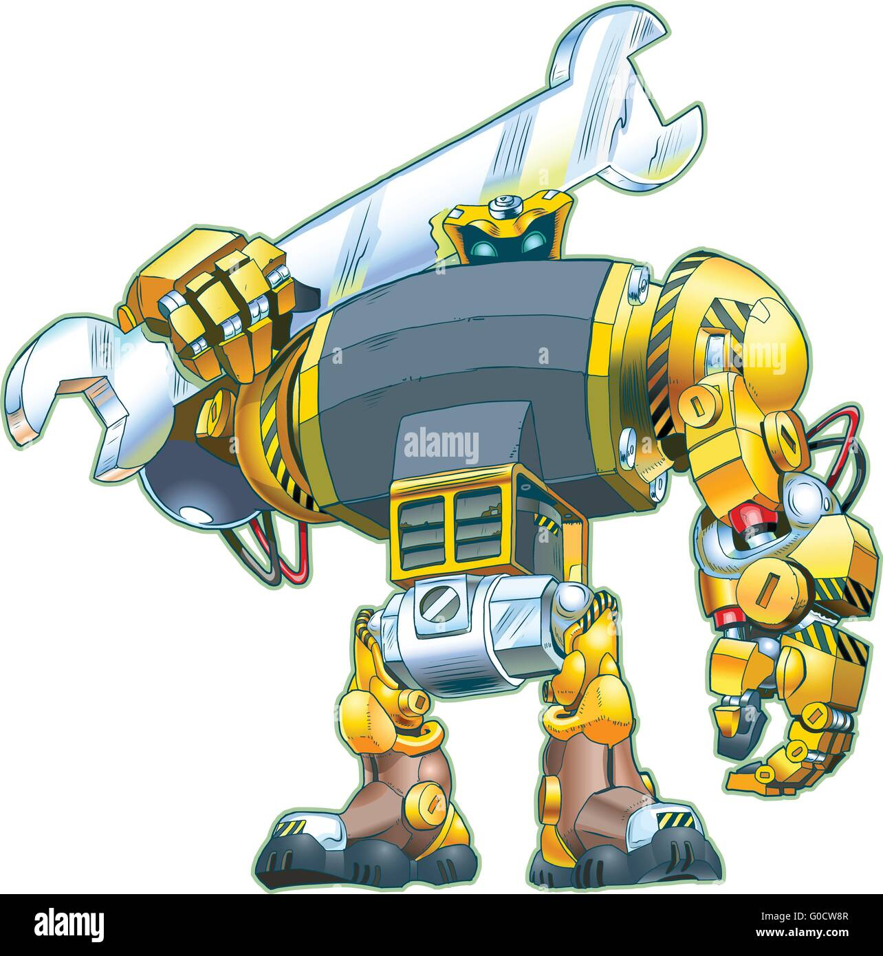 A vector cartoon of a giant tough-looking robot holding a wrench on its shoulder. Great for construction or repair - Stock Image