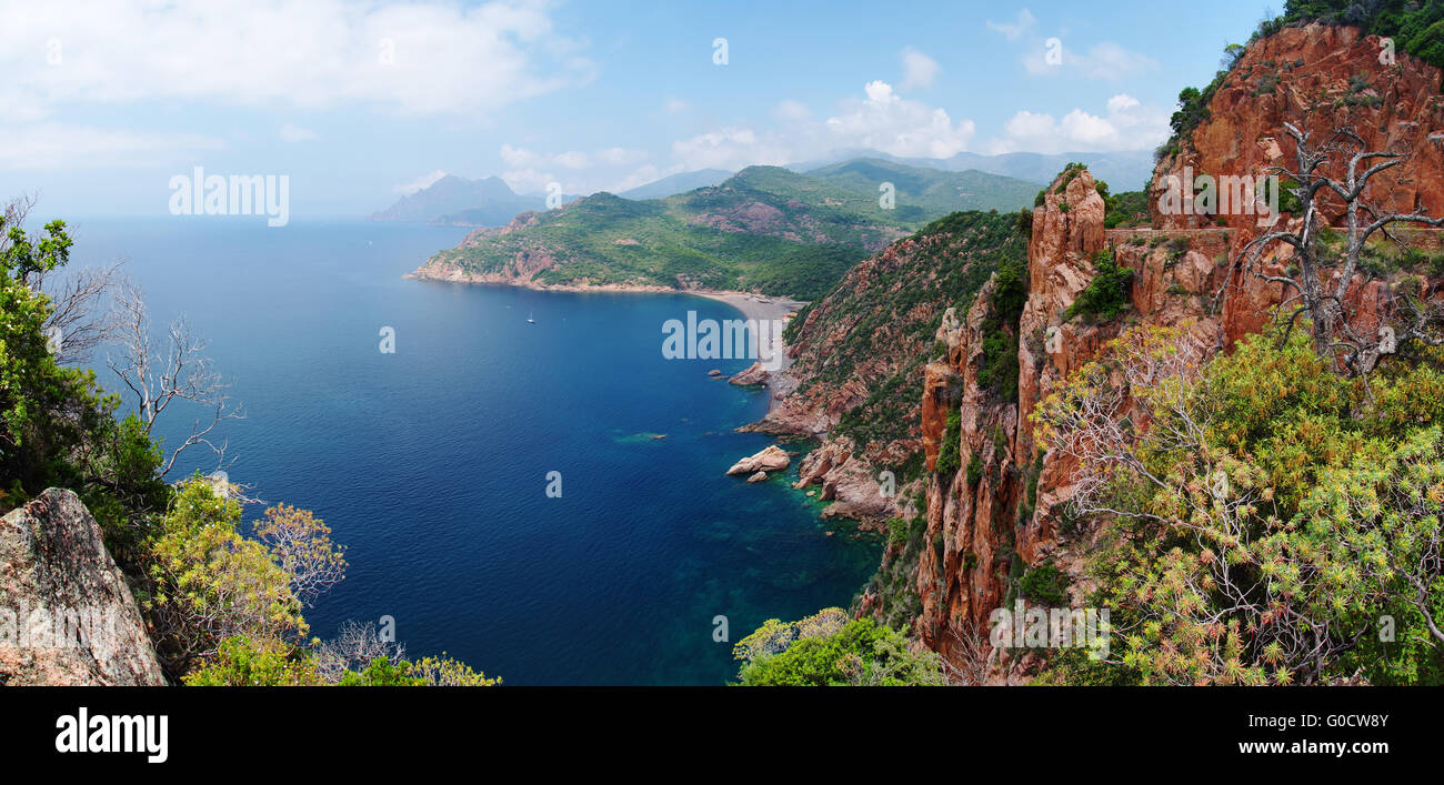 Panoramic View on the cliffs in the Gulf of Porto - Stock Image