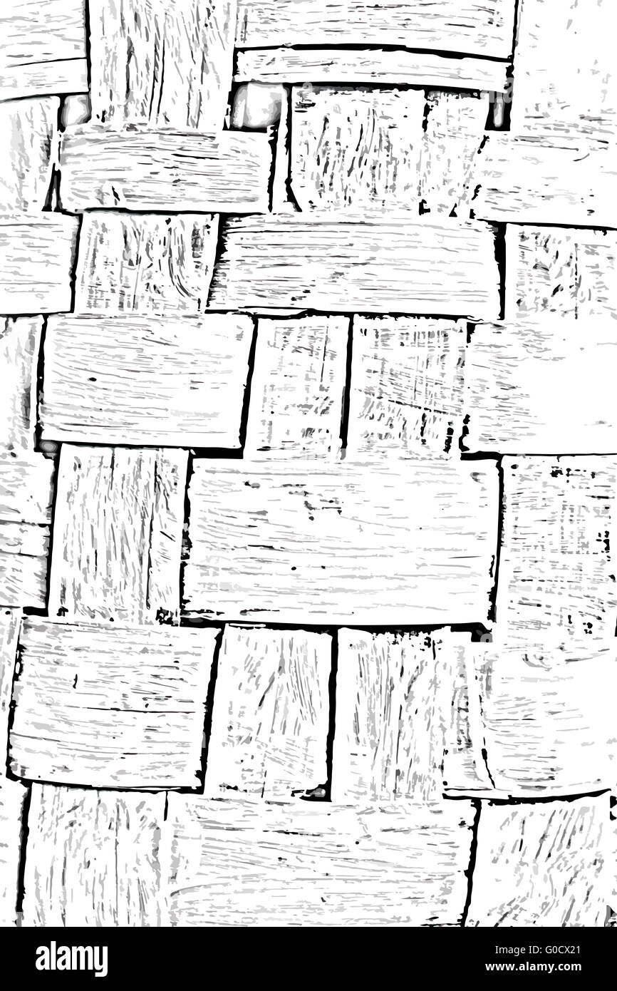 Wall woven from the bark baskets abstract background - Stock Image