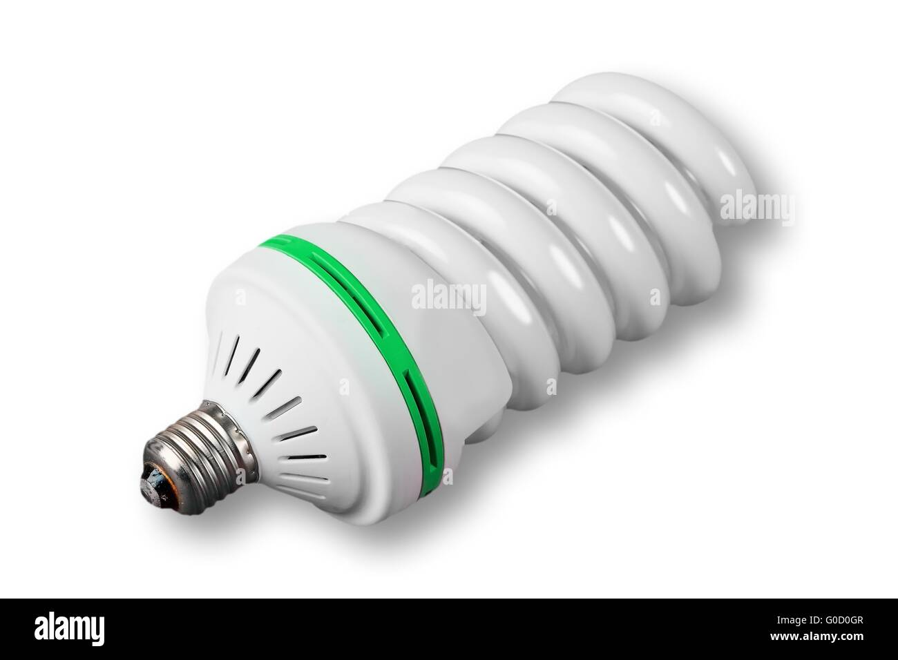 Economic light bulb on white background (green power) - Stock Image