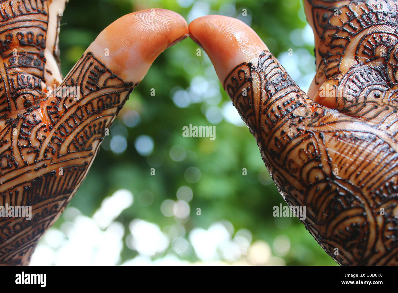 beautifully mehandi on indian hans for wedding preparation - Stock Image
