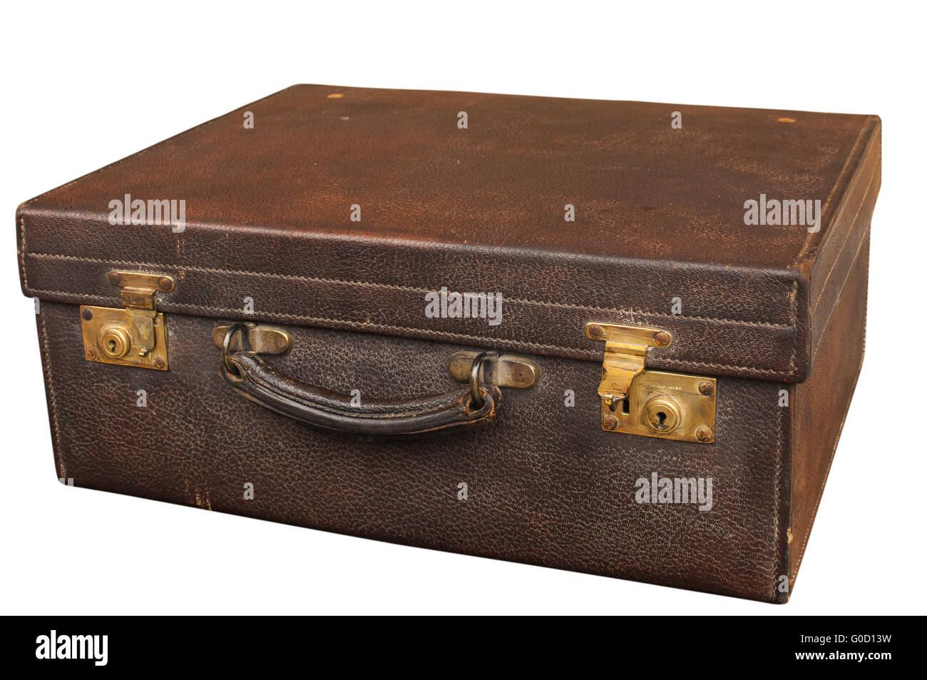 Old Closet Locked Retro Vintage Leather Suitcase   Stock Image