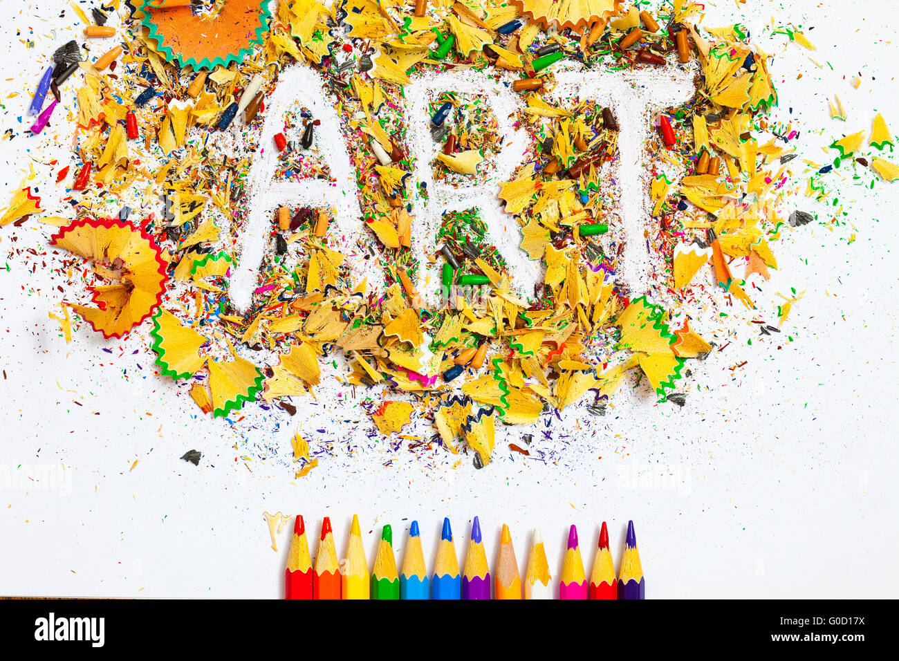 Word Art Over A Shavings Of Pencils For Drawing Stock Photo