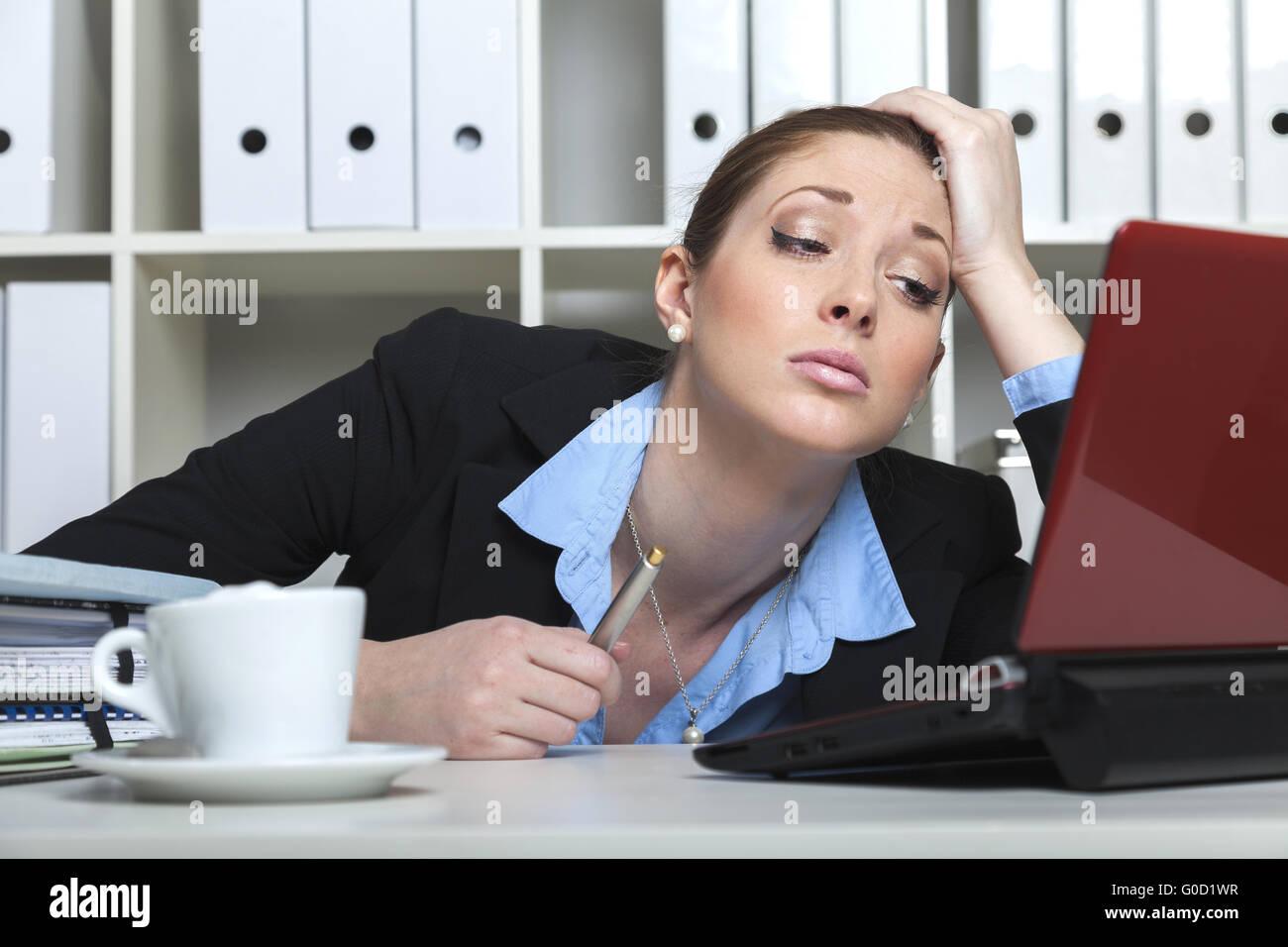 Unmotivated businesslady - Stock Image