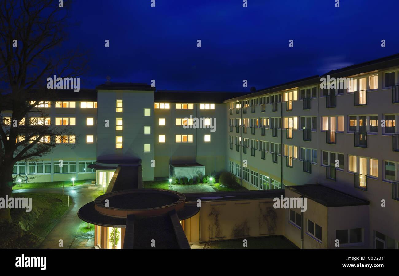 moor therapeutic bath Bad Harbach at night - Stock Image
