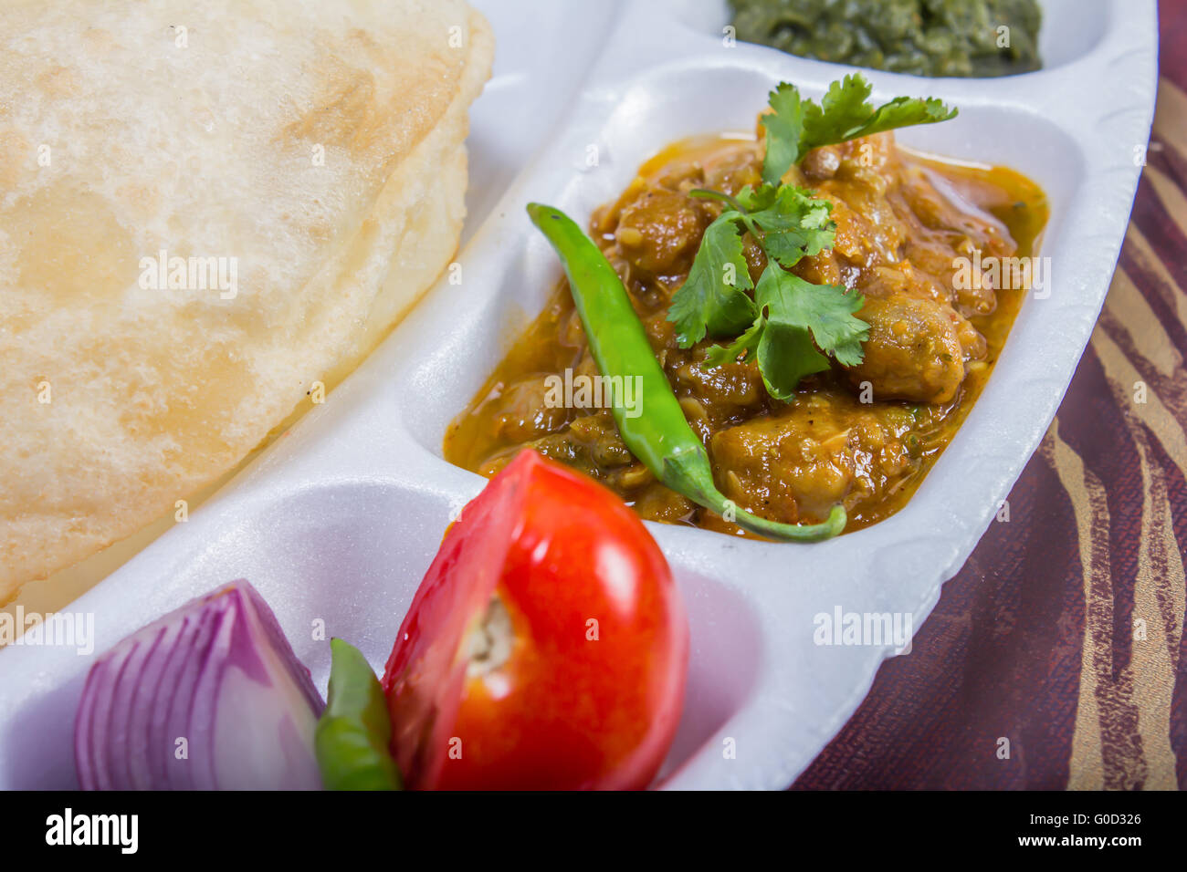 chole bhature with salad and chutney - Stock Image