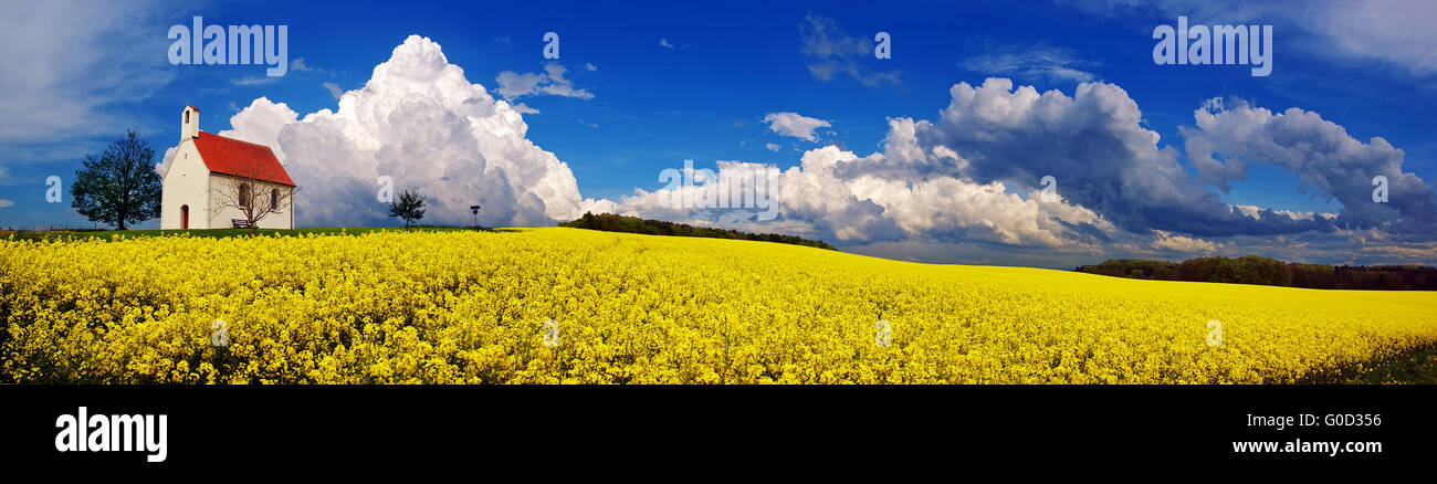 Chapel and Thunderclouds above a canola field - Stock Image