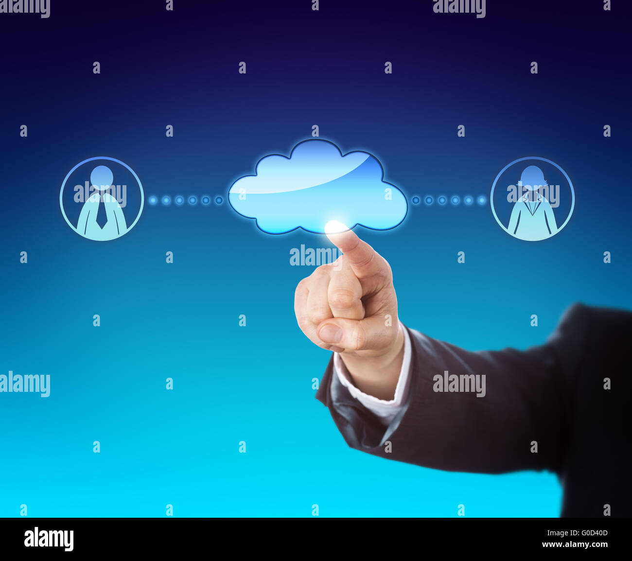 Arm Touching Void Cloud Linked To Office Workers - Stock Image