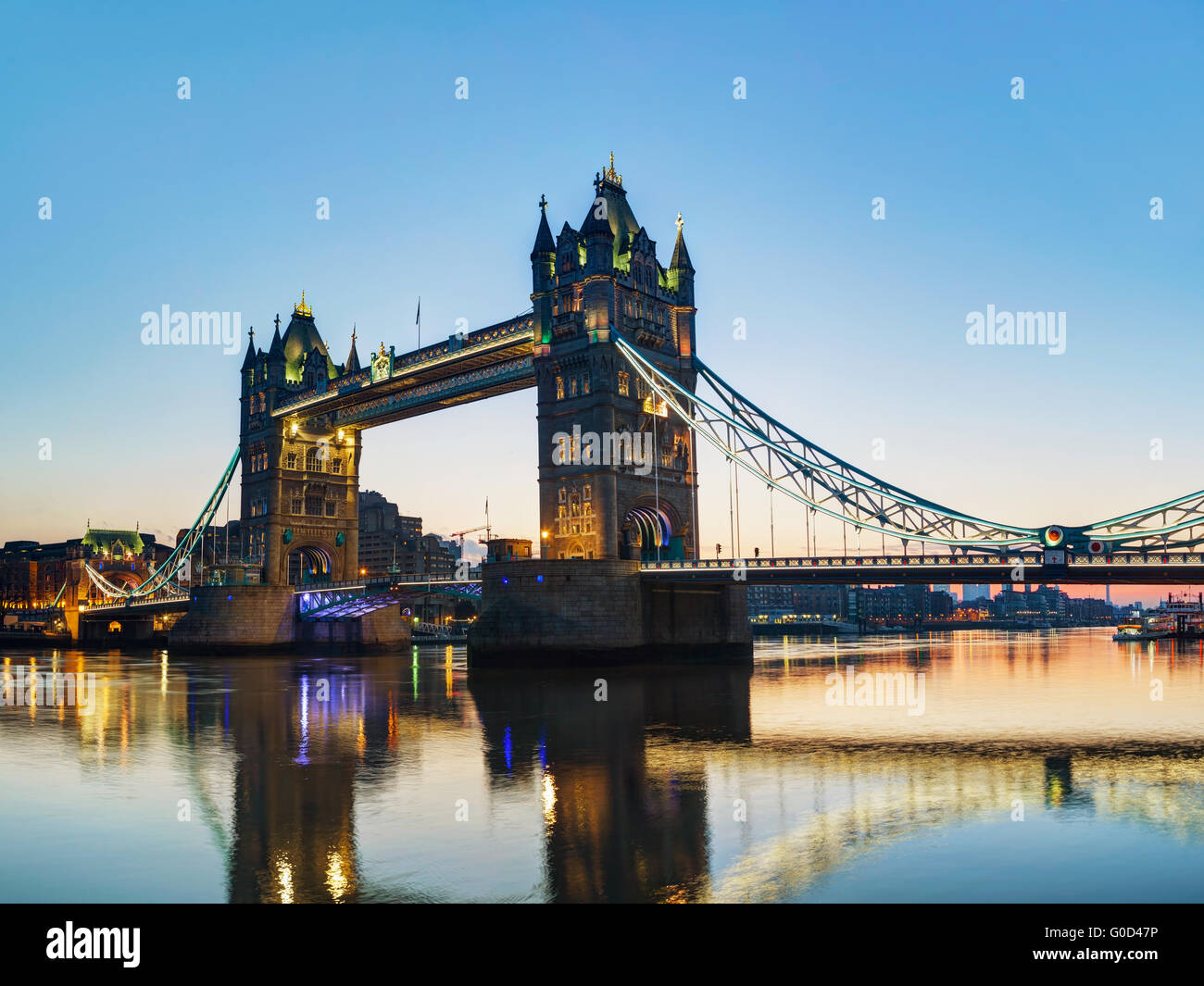 Tower bridge in London, Great Britain at sunrise - Stock Image
