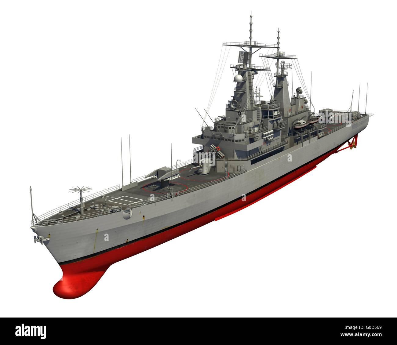 American Modern Warship On White Background. 3D Illustration. - Stock Image