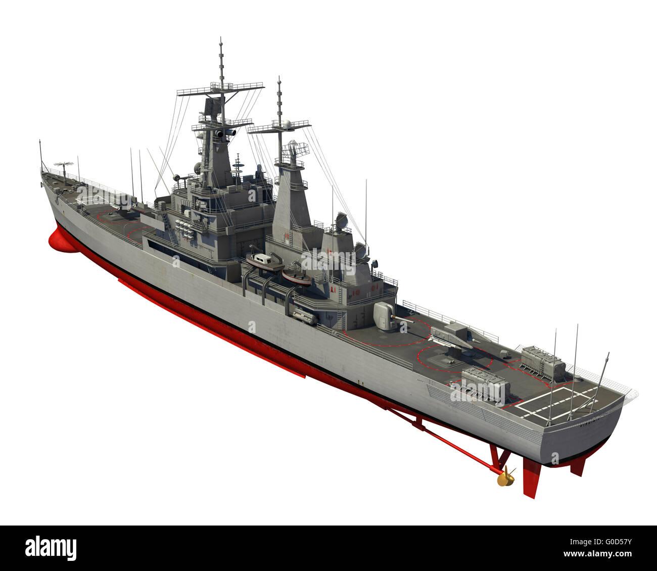 American Modern Warship Over White Background. 3D Illustration. - Stock Image