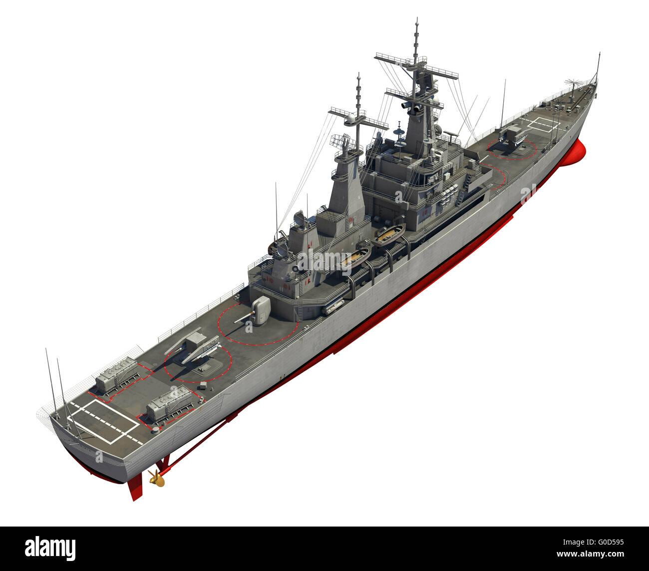Modern Warship Over White Background. 3D Illustration. - Stock Image