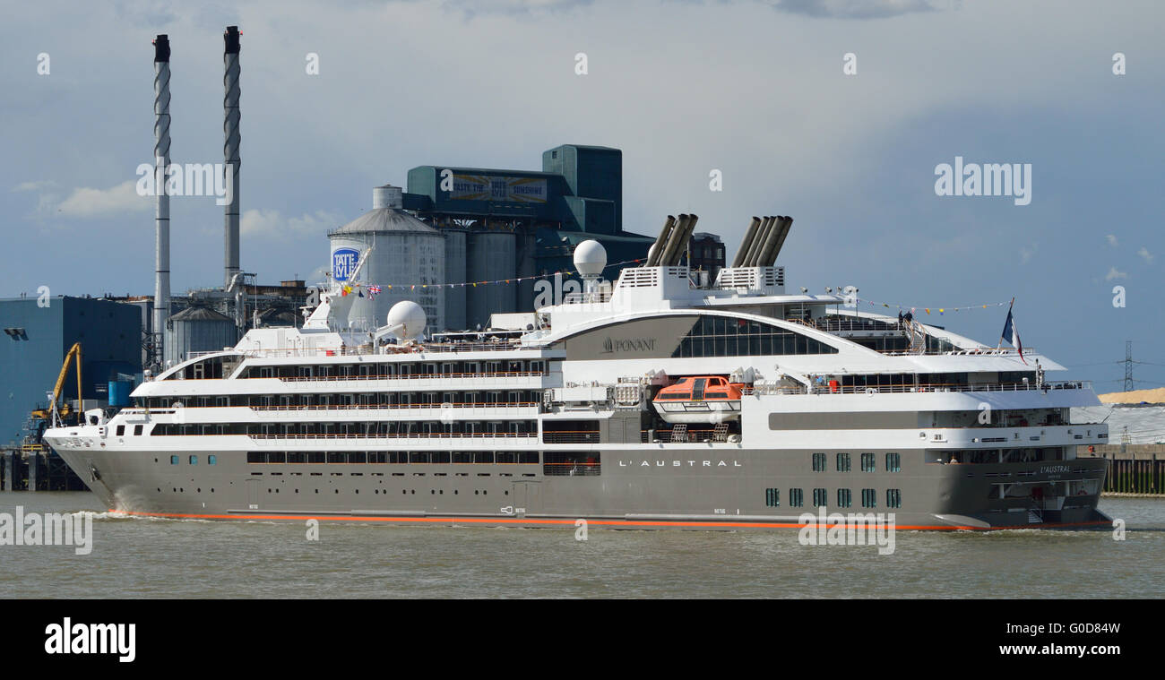 French cruise line Ponant's ship L'Austral comes to London to kick off the 2016 cruise season. Seen heading - Stock Image