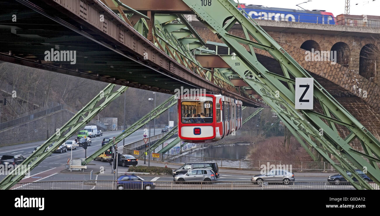 Wuppertal Suspension Railway and traffic Stock Photo
