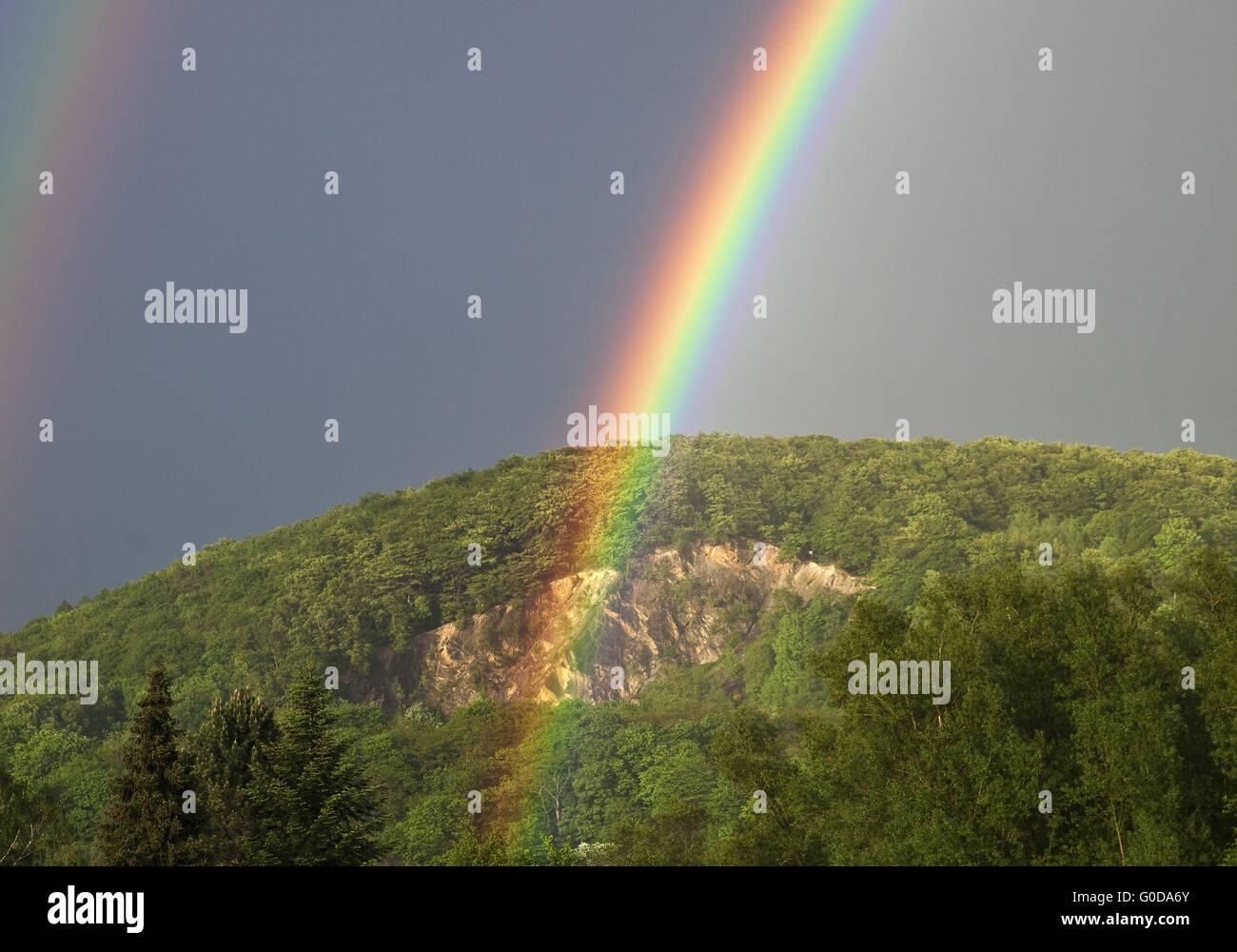 rainbows over Wartenberg, Witten - Stock Image