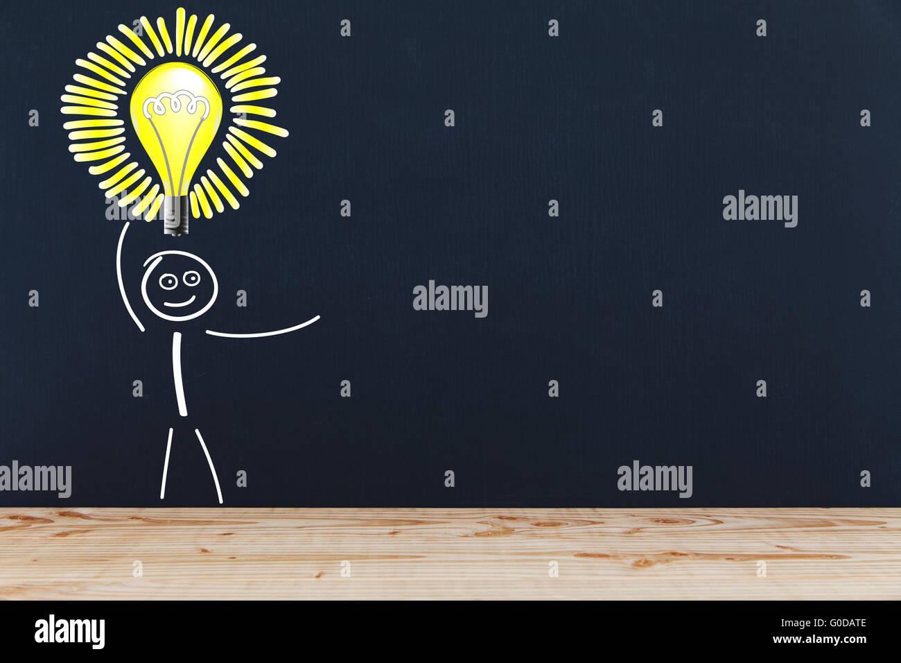 Stick figure with light bulb Stock Photo