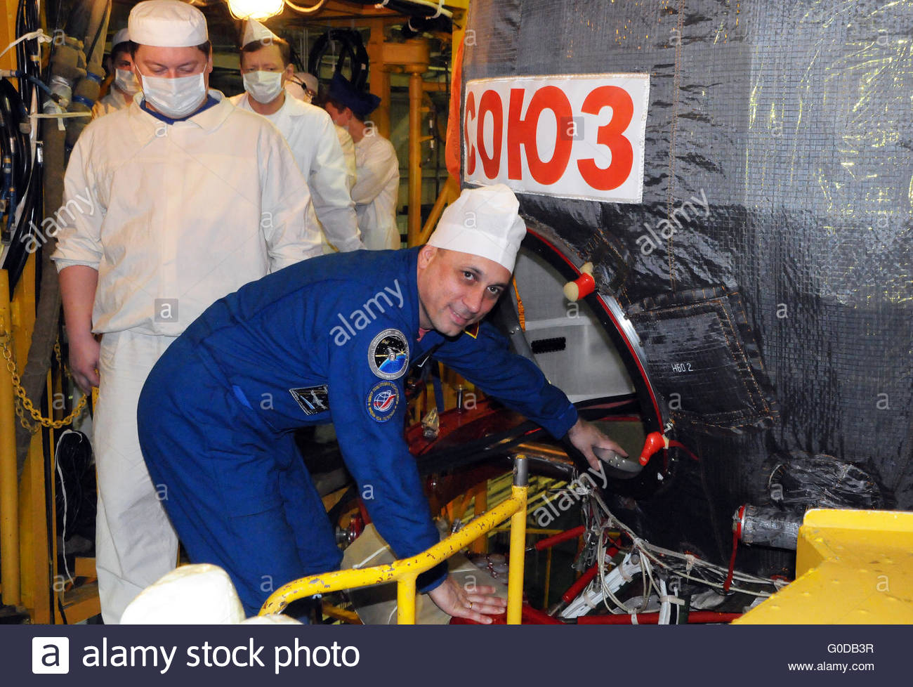 Cosmonaut Anton Shkaplerov during Fit Check - Stock Image