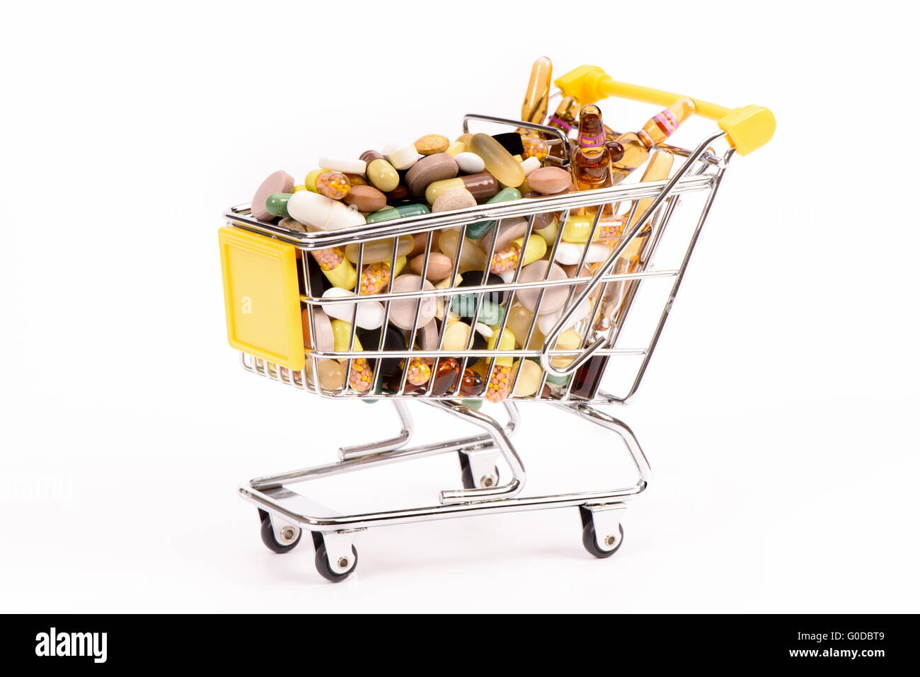 trolly with medical pills - Stock Image