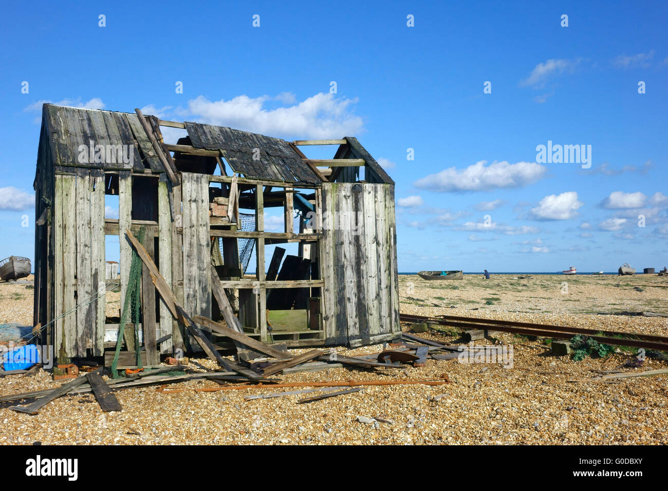 Old Abandoned fisherman's hut on Dungeness shingle beach Kent England UK - Stock Image