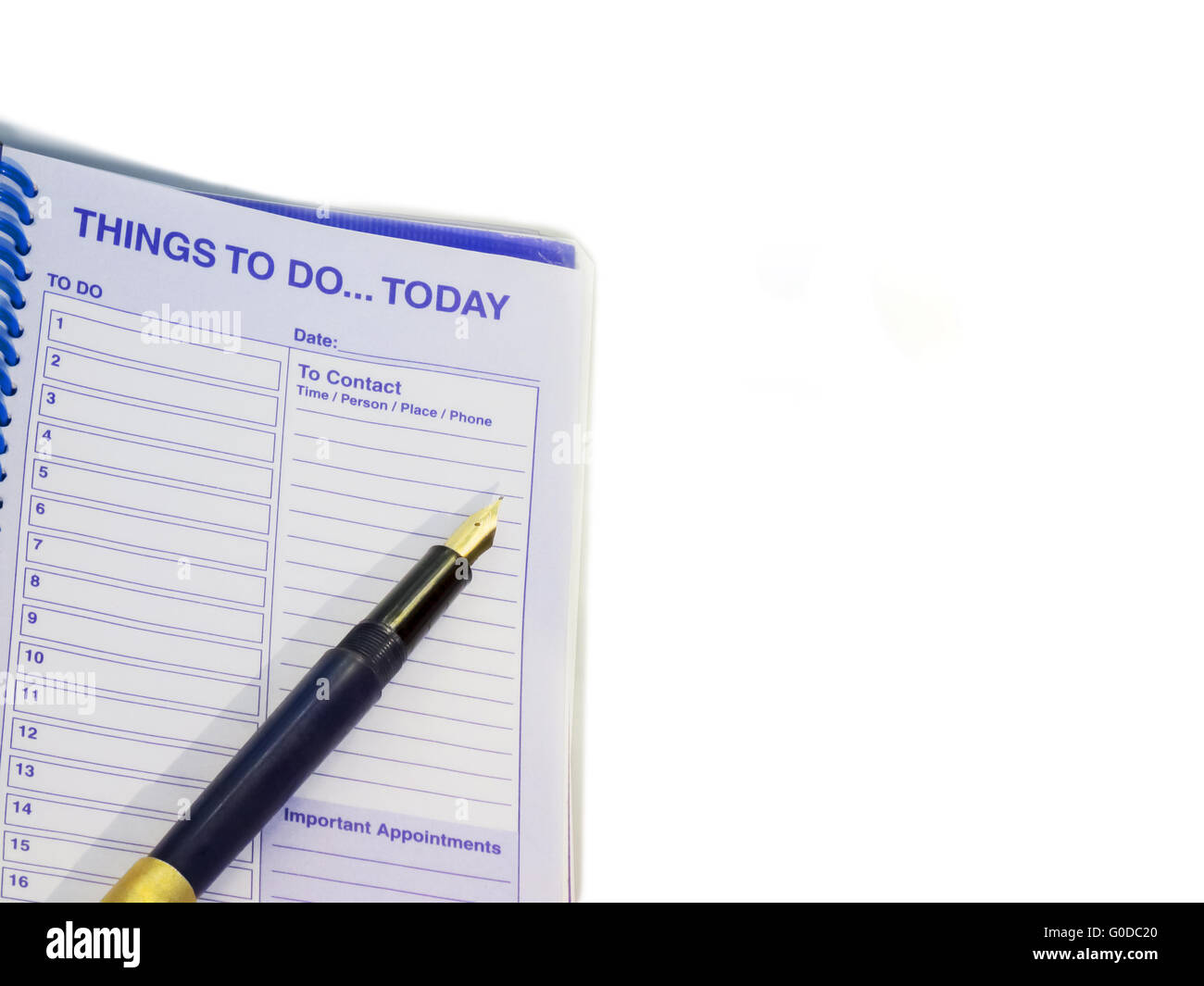 Things to do today...Pen and appointment notebook - Stock Image