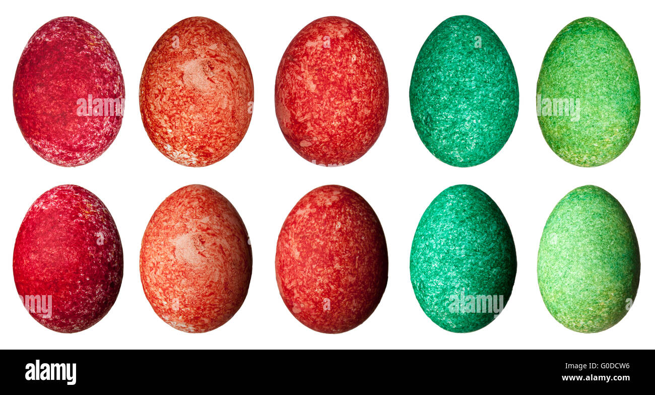 Isolated Easter eggs with different lighting - Stock Image