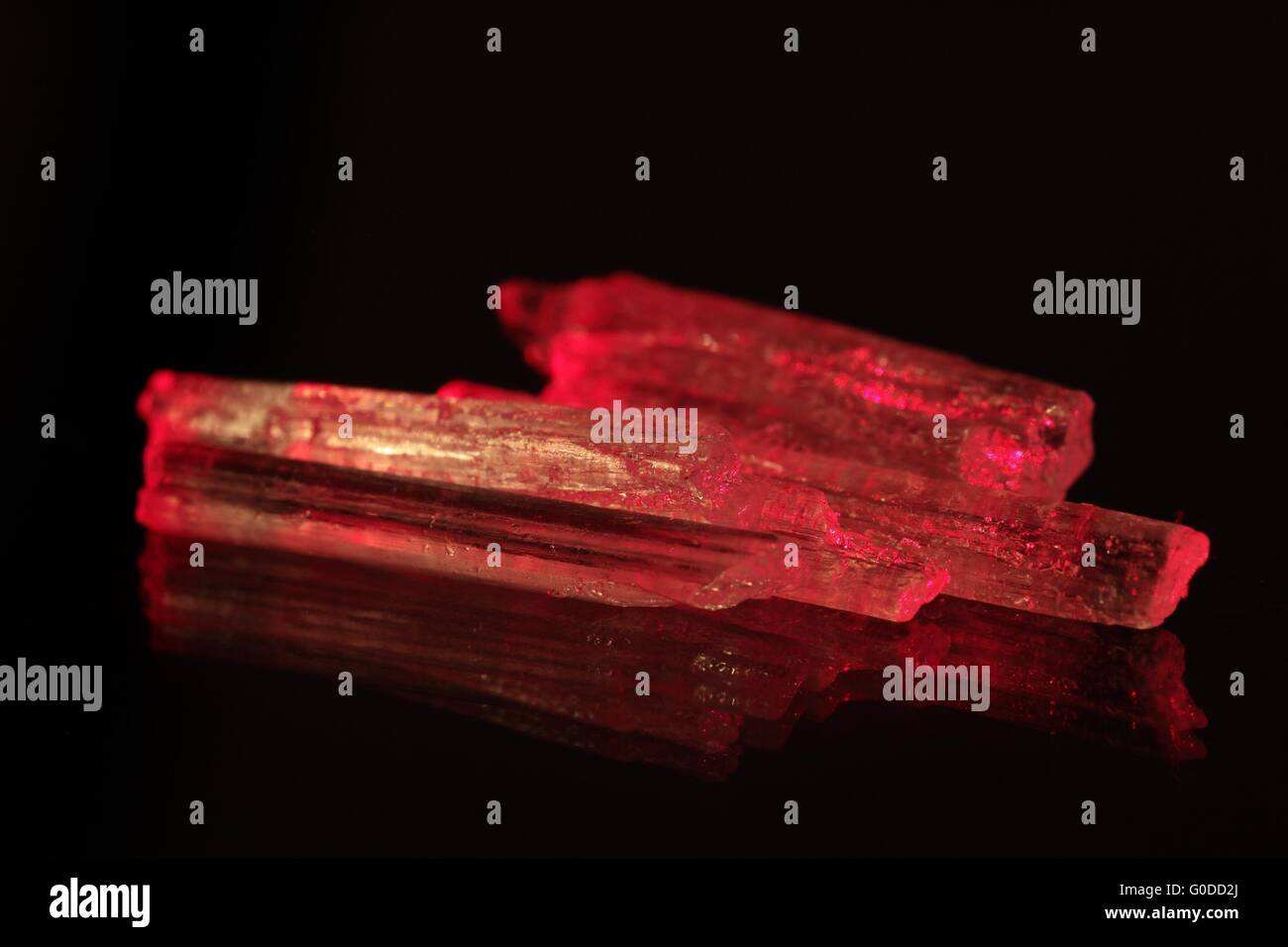 Red glowing crystals. - Stock Image