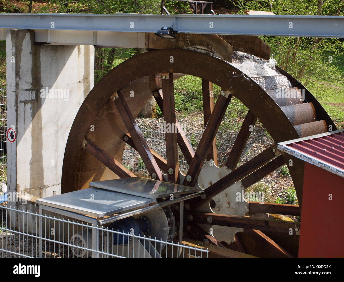 Waterwheel to generate electricity - Stock Image
