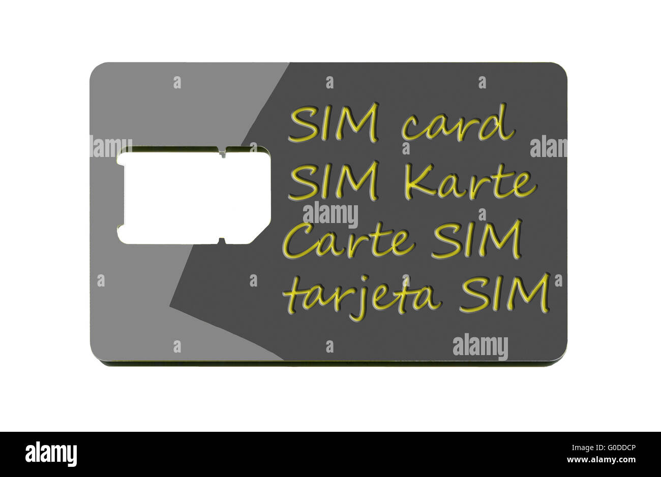 SIM card carrier with broken out Mini-Card hole - Stock Image