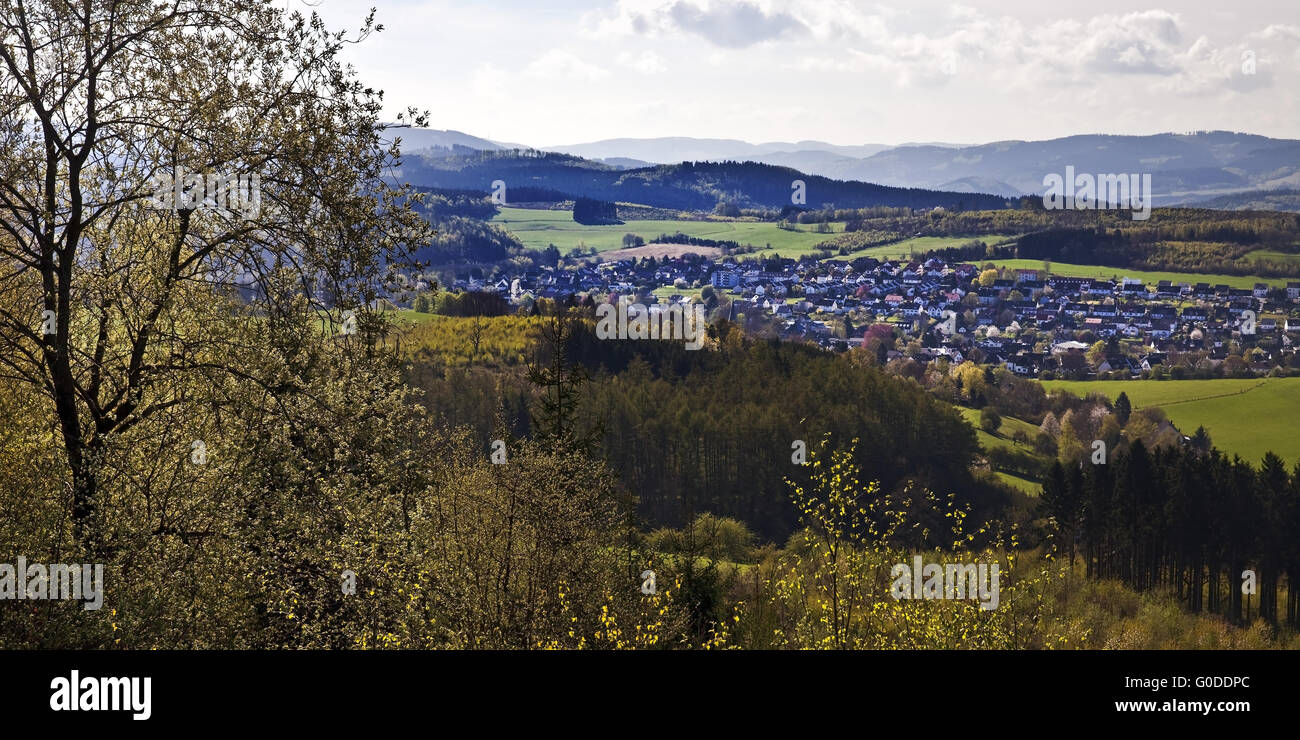 view from Kohlberg mountain to the town Neuenrade - Stock Image