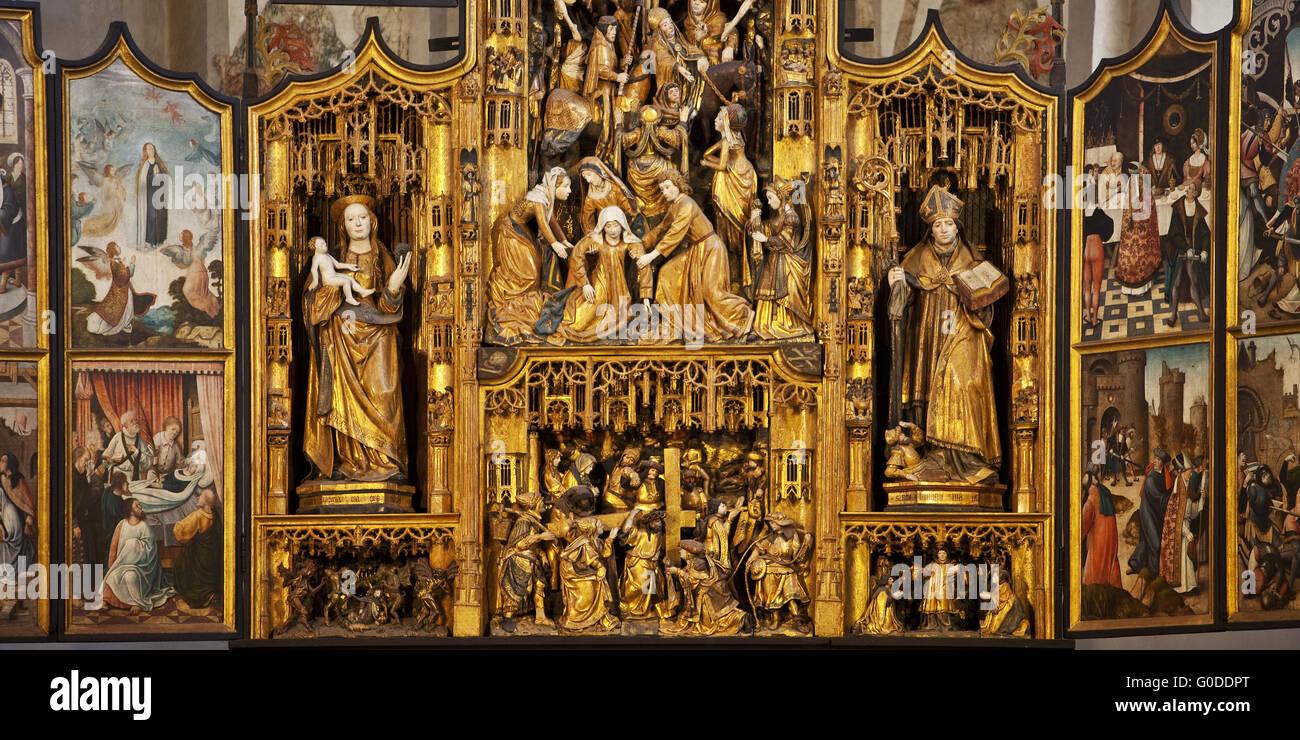 Flemish Fold Altar of St Lambertus Church - Stock Image