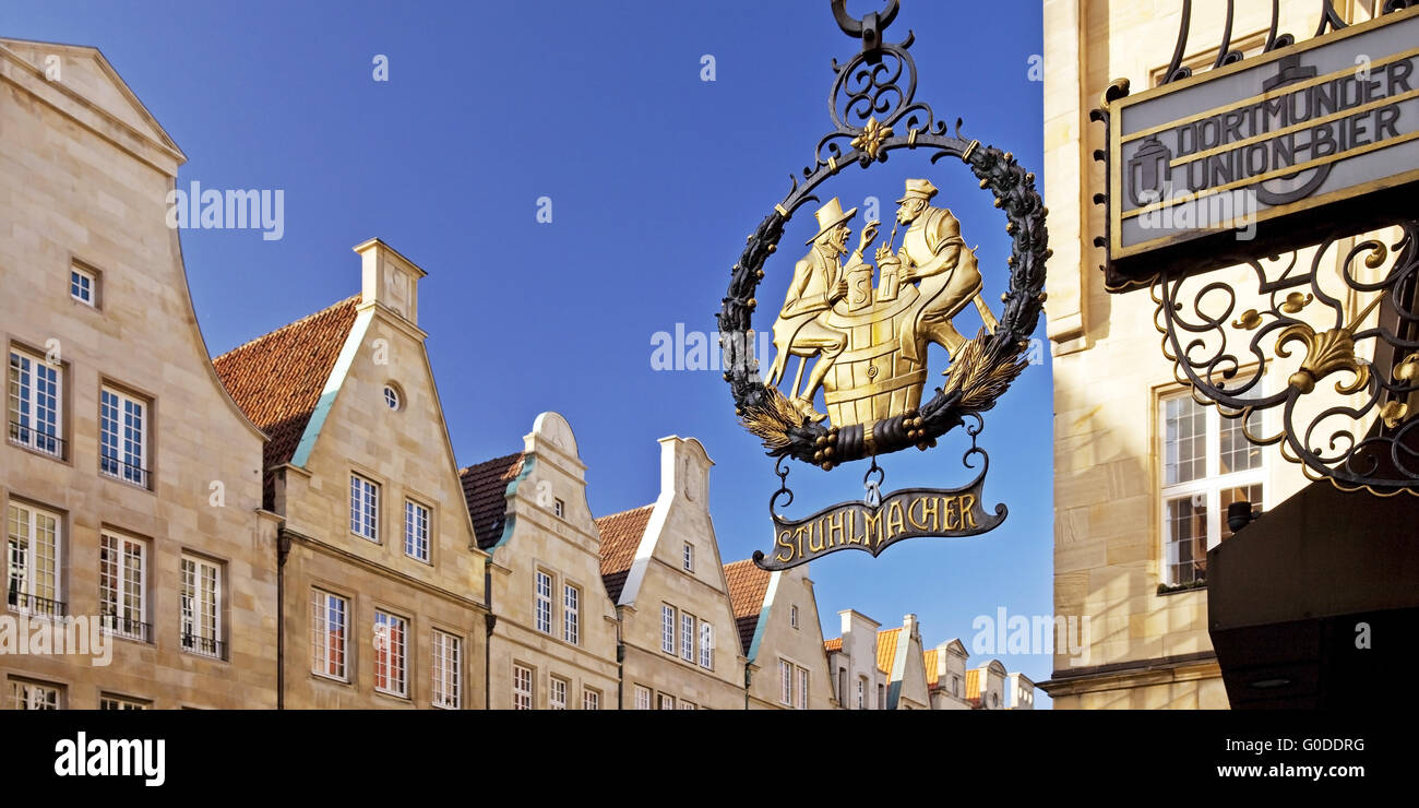 sign Stuhlmacher on front of the sandstone facades - Stock Image