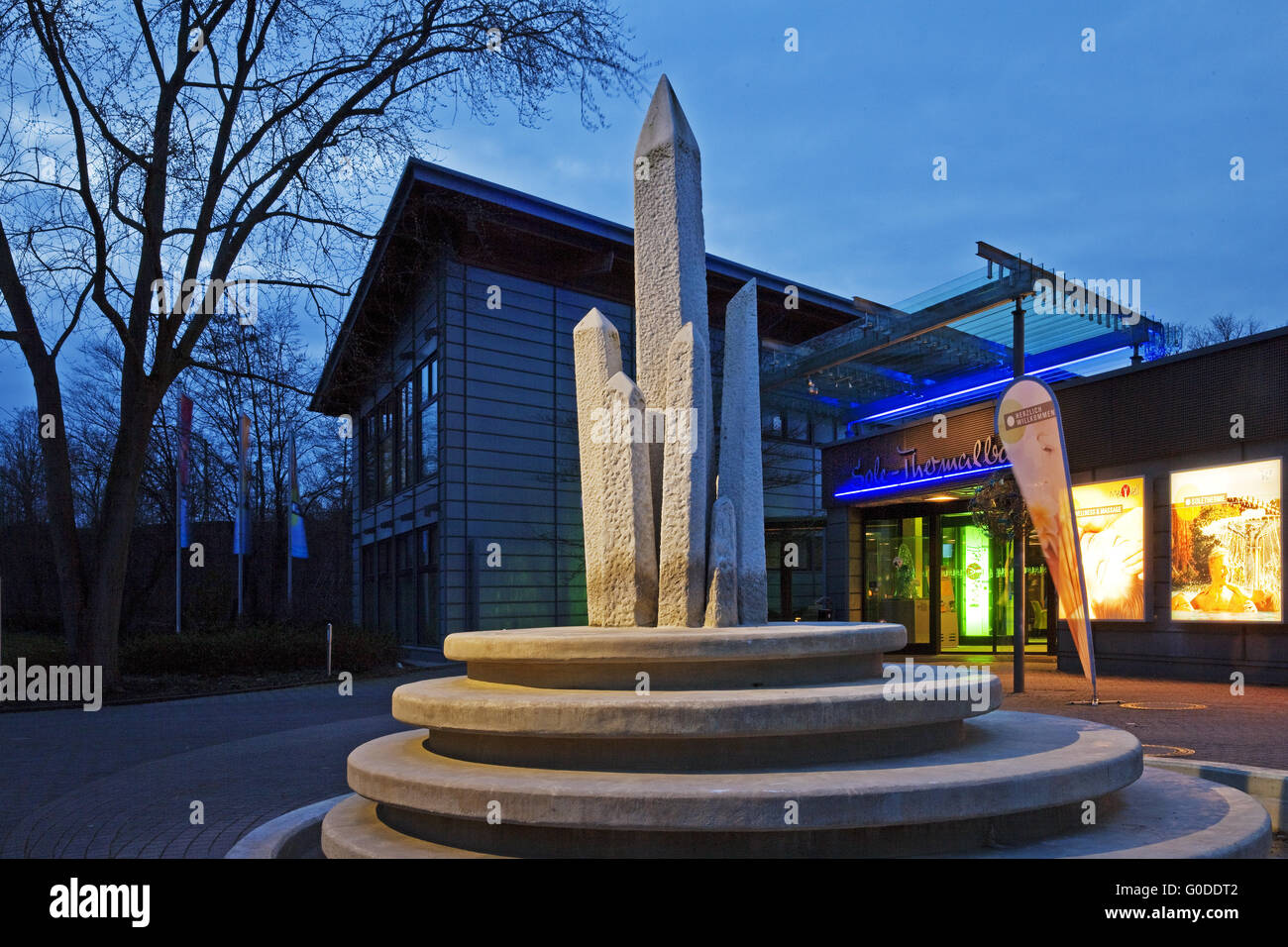 salt crystal fountain in front of the spa - Stock Image