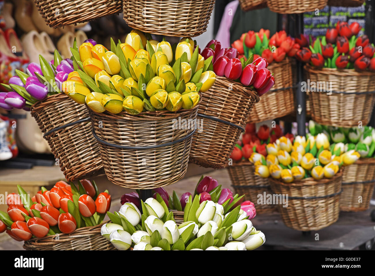 Artifical tulips, souvenirs, The Netherlands - Stock Image