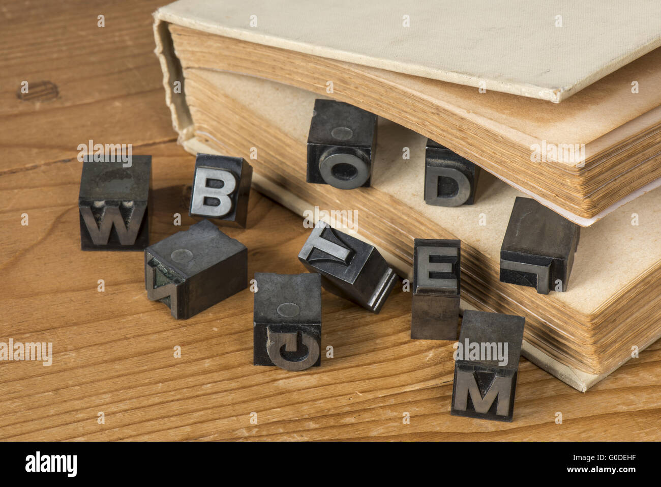 Old lead ink printing type - Stock Image