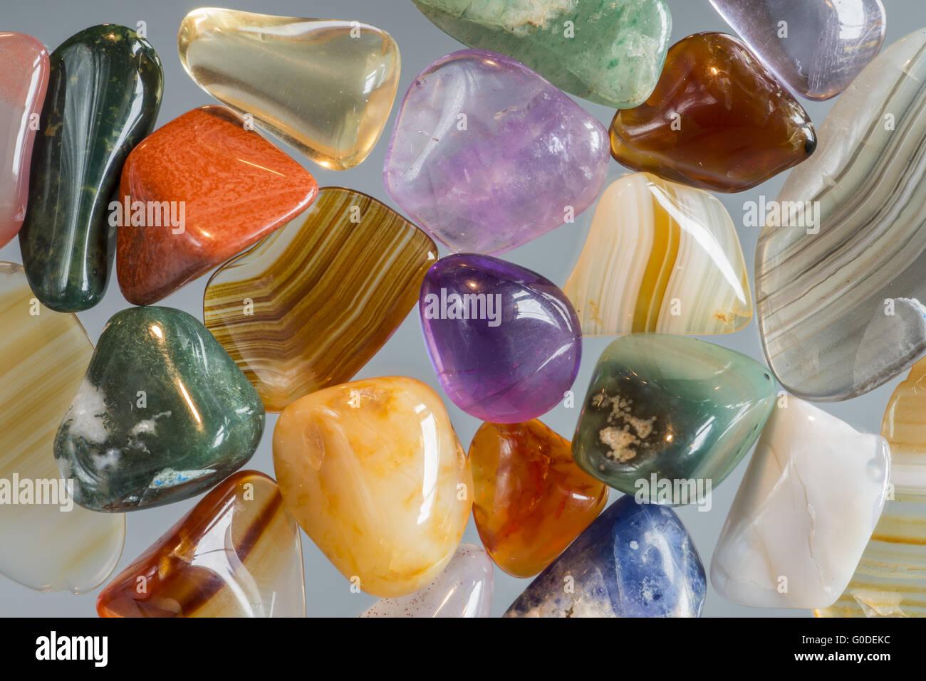 Glassy stones, polished gravel - Stock Image