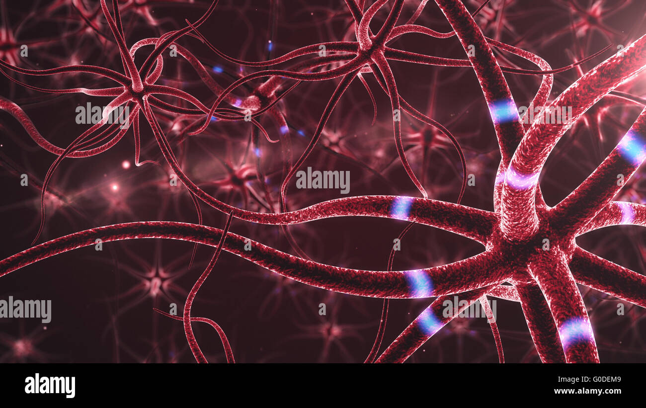 Neurons abstract red background - 3d rendered close up of an active nerve cell. - Stock Image