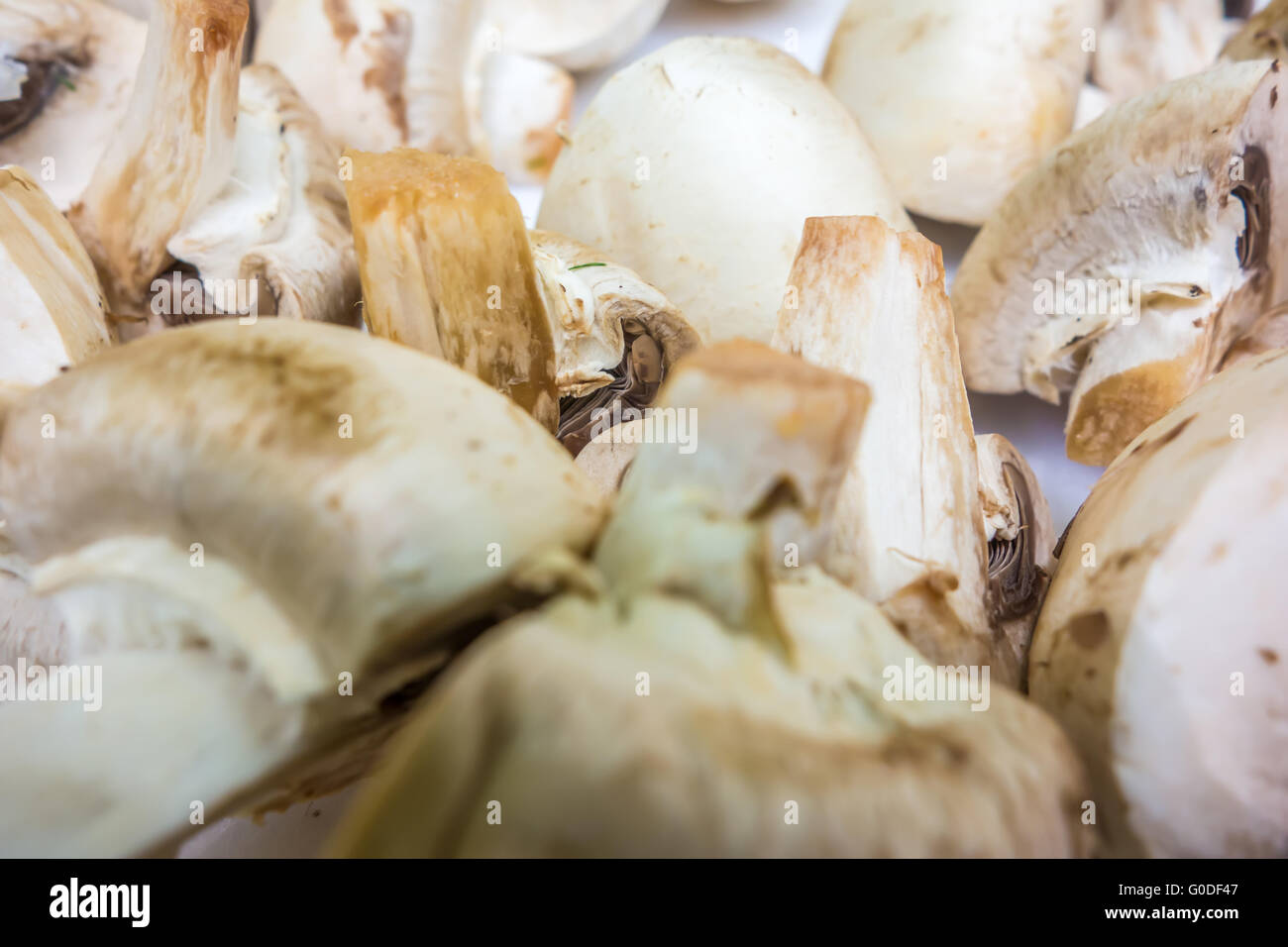 raw sliced mushrooms ready for grilling - Stock Image