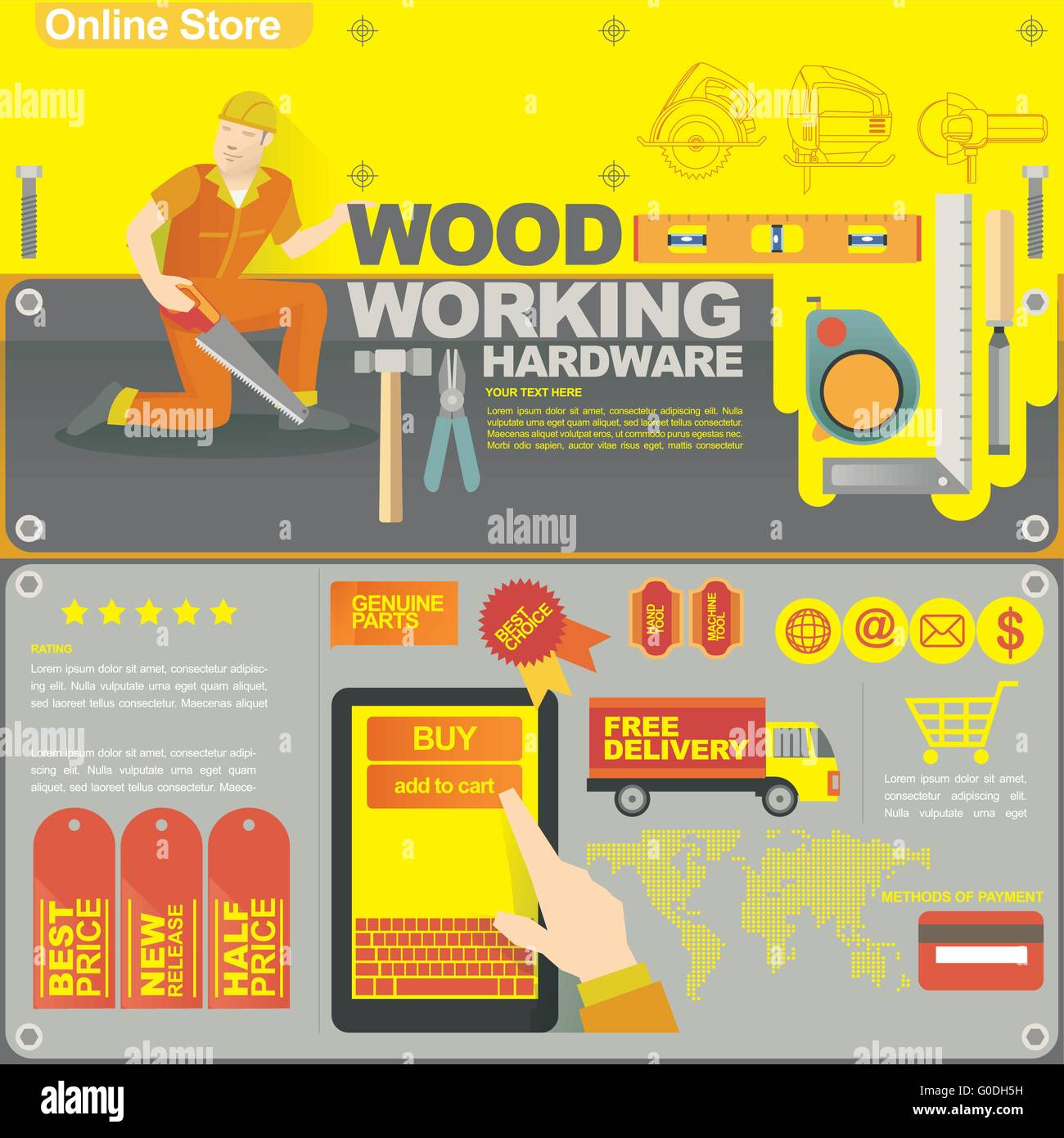 concept illustration banner template for wood craft and on line shop - Stock Image
